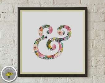 "Ampersand, Floral, Printable, Instant Download, Poster, Print 12x12"", PERSONAL USE ONLY"