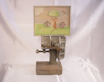 Great Gift ! Beautiful Old Workshop Vice Repurposed With Rustic Art