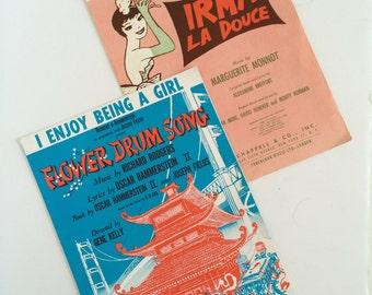 Vintage Sheet Music Set of 2 | Irma La Douce & Flower Drum Song