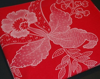 Vintage Cotton Fabric Yardage, Red with Pale Floral Design   #308