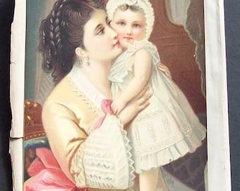 Antique Chromatolith  Mother and Child illustration.