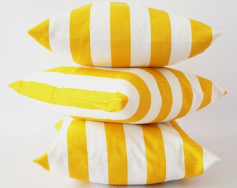 Yellow stripe 22x22 pillow cover, yellow white pillow, corn yellow pillow, striped slub pillow cover, throw pillows, cushion, decorative