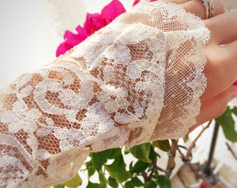 Salvaged lace wedding cuffs, lace bracelet, vintage boho wedding