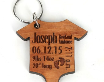 Personalized Baby Stat Keychain - Mothers day/ Fathers day gift - Baby Announcement Key Chain