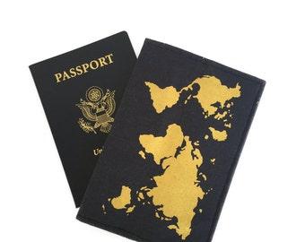 WORLD MAP Passport holder, GOLD world map, Passport case, passport cover Travel print, gold and navy, screen print, gold passport