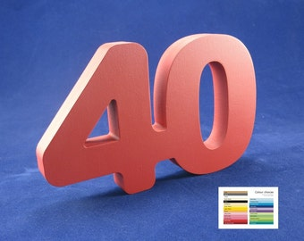 40th celebration wooden number free standing 25 colour options birthday anniversary decoration