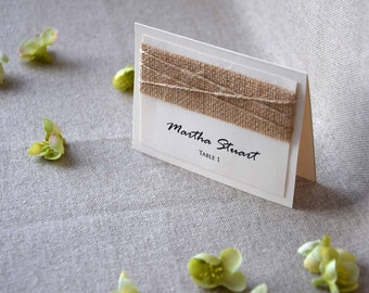 Burlap Wedding Place Cards Name Holders For Weddings