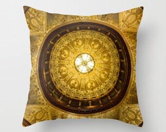 Indoor / Outdoor Decorative Throw Pillow Gold 16X16 IN.