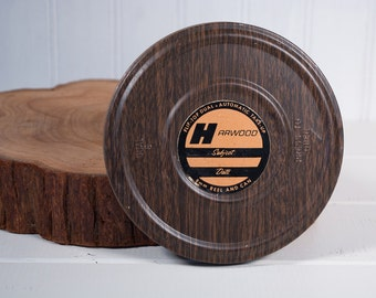 """Vintage Brown Harwood of Chicago 5"""" 8mm Mini Film Reel and Can, 200ft Film Reel, Chicago USA, Film Wall Decor"""