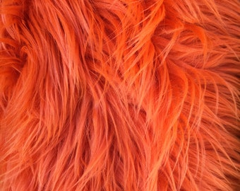 """Orange Luxury Long Pile Faux Shaggy Fur Fabric - Sold By The Yard - 60"""""""