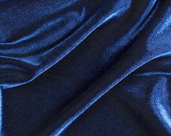 "Stretch Velvet Spandex  Fabric - Navy - 58""/60"" Width Sold By The Yard"