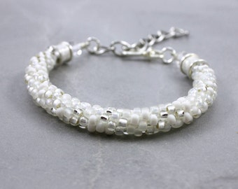 White Beaded Bracelet - Beaded Kumihimo Bracelet - Silver Bracelet - Womens Bracelet - Bridal Jewelry - Crystal Bracelet - Minimalist Bangle