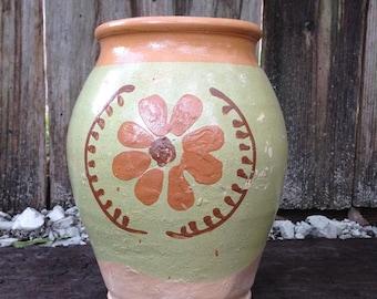 Vintage Flower Pottery Jug Crock with Handle, Cottage Chic, Farmhouse, Retro Floral, Green, Pink Crockery, Vase, Rustic Stoneware