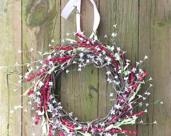 Spring Wreath, Pink Flower Wreath,Spring Door Wreath, Summer Wreath, Rustic Wreath, Rustic Spring Wreath, Summer Door Wreath
