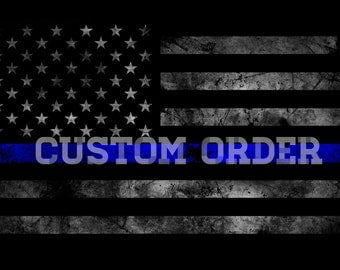 Thin Blue Line American Flag Distressed Hand By Kfrantadesigns