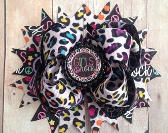 Girls Rock Stacked Boutique Bow, OTT Bow