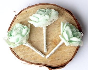 Mint Wedding Boutonniere , Lace Mint Boutonniere , Wedding Boutonniere