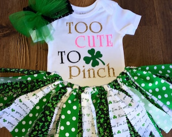 Too Cute To Pinch,Baby Girl St.Patrick's Day Outfit/Newborn St. Patrick's Day Outfit/Baby St.Patrick's