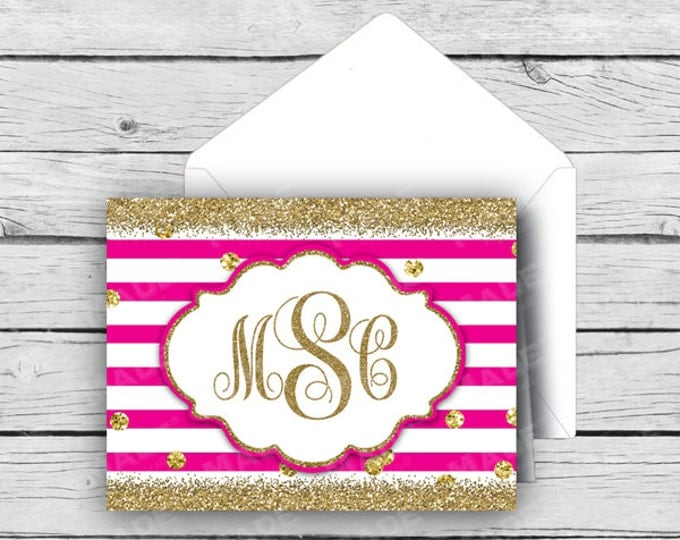 GLITTER SCRIPT MONOGRAM Note Card Set - Pink, Stationery, Printed Stationery, Thank You Cards