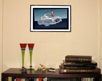 "Mercedes-Benz 300SL Hovercraft 11""w x 17""h Print"
