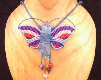 Butterfly pendant macrame with mineral Siberian blue quartz (single piece)