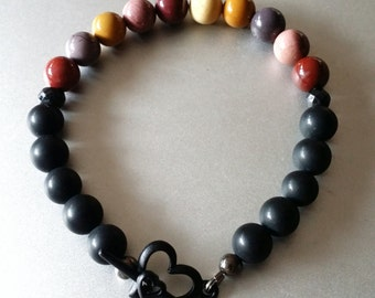 Mookaite Jasper & Brazilian Black Stone BRACELET with Black Toggle Heart Clasp