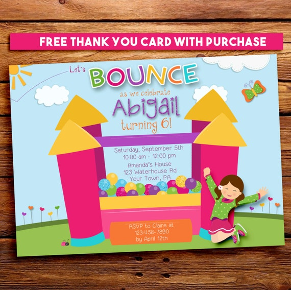 Girl Bounce House Invitation / Bounce House Birthday Invitation for girls. Free Thank You Note