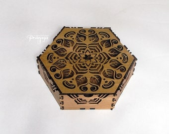 Plant mandala hexagon decorative box for jewelry, treasure, stash, gift box, lasercut, wood