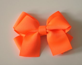 Neon Orange Hair Bow Clip