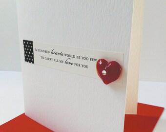 Romantic Quote Card, Valentine's Card, Glass Heart Card, Romantic Card, Valentine Card, Anniversary Card