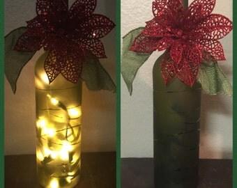 Christmas wine bottle lights Wine bottle lighting Wine bottle lamp Decorated wine bottle Christmas wine gifts under 20