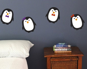 Penguin, Wall Decals, Set of 8, Christmas Decoration