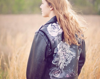 Hand Painted / Roses / Floral design / Womens / Black / Leather Jacket