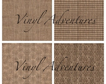 "Burlap Pattern Vinyl, Diamond Argyle Floral Damask, 12""x12"", Outdoor Permanent Adhesive, Use for decals graphics etc, Oracal 651"