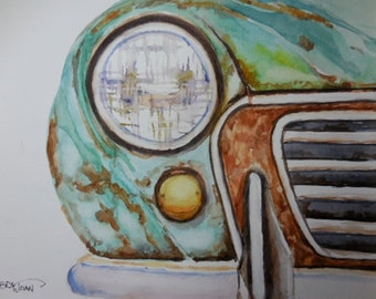 Vintage car watercolor, rusted, original watercolor, Fathers Day