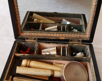 Antique Sewing Box and Contents, French, 1860-80