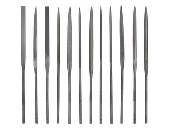 Set of 12 Needle Files in Plastic Pouch Tool for Wax Carving Cutting (14 cm)  - FILE-0001