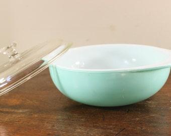 Vintage Pyrex Casserole Dish - Turquoise Aqua Blue Teal 024 - 2 Qt Quart with Lid - Turquoise Pyrex Serving Dish