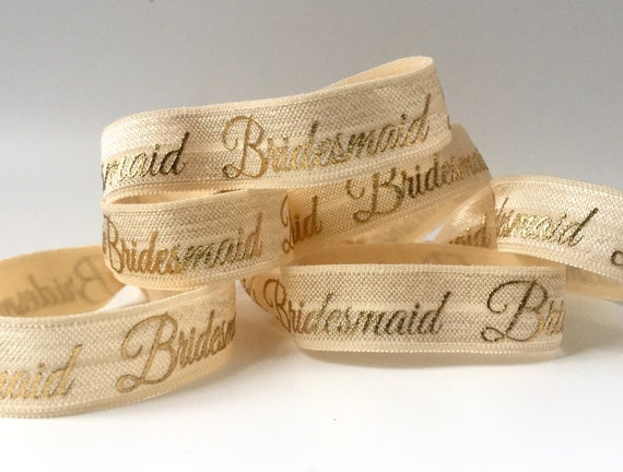 Ivory and Gold Bridesmaid Hair Tie-Set of 4