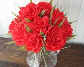 Red roses table arrangement/ Paper flower/ Bridal bouquet/ Wedding decor/ Bridal shower/ Floral centerpiece/ Birthday party decoration