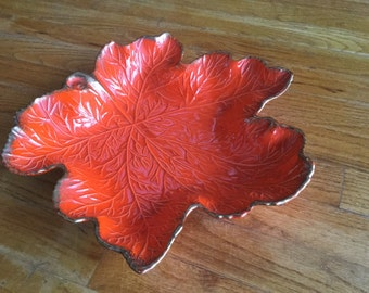 Retro Orange Leaf Plate – Candy Dish – Nut Bowl – Centerpiece