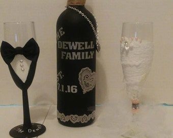 Bride and Groom Wine Bottle and Matching Glasses