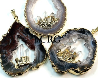 Large Gold Plated Geode Slice Pendant w/ 3 Fixed Tourmaline Points (GD22BT)