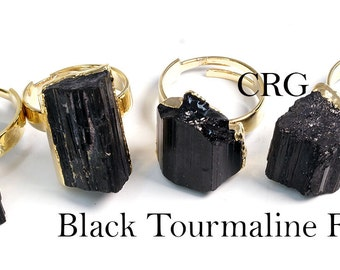 Gold Plated ROUGH BLACK TOURMALINE Adjustable Ring (R19CN)