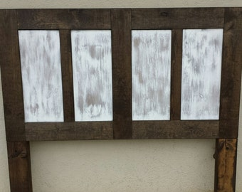 4 Panel Headboard-Distressed White