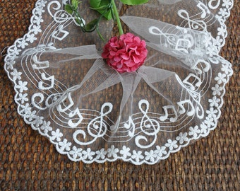 White Music Note Lace Trims 4.33 Inches Wide 3 Yards YL018