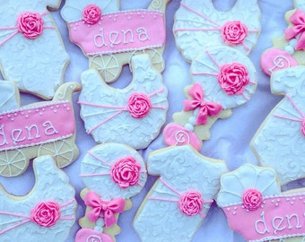 Baby Girl Shower Favor Custom Cookies