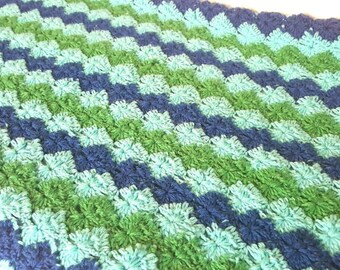 Crochet Afghan Blue and Green, Knit Blanket, Hand Crochet Bed Linen, Handmade Afghan, Blue and Green Style, Blue and Green Blanket