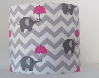 NEW Handmade Grey Chevron Zig Zag Pink Umbrella Fabric Drum Lampshade Lightshade Girls Baby Nursery