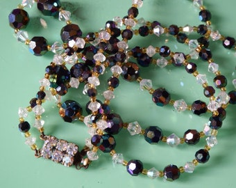 Vintage Double Strand French Beaded Glass Necklace from Paris Flea Market